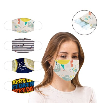 Custom Face Mask can have a logo, name or other message. Full color is available with a 15 day delivery.