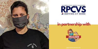 """Mia Richardson is a Returned Peace Corps Volunteer Serving at Home as well as a Masks Now volunteer. """"Volunteering with the Masks Now Coalition is a great way to continue our public service mission abroad right here at home,"""" says Richardson. Text 'masks' to 50409 to find out how you can get involved or download a free mask pattern."""