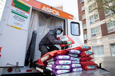 The ASPCA's New York City Pet Food Distribution Center unloads donated Stella & Chewy's cat and dog food to assist pets and pet owners affected by the COVID-19 pandemic.