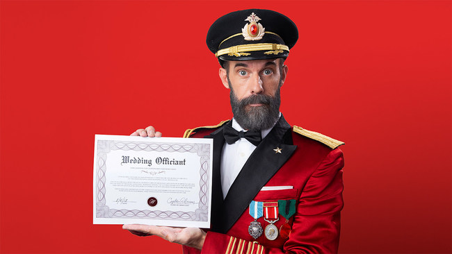 Ordained brand mascot Captain Obvious™ and Hotels.com® are ready to perform virtual weddings and reward newlyweds with future honeymoons.