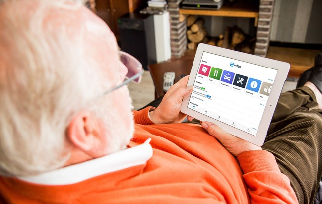 A resident in a retirement community uses Cubigo to fight loneliness