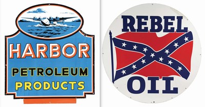 Circa-1940s Harbor Petroleum sign, $40,000-$60,000; Rebel Oil double-sided sign, $15,000-$25,000