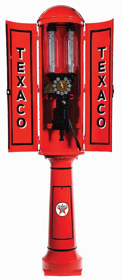 Rare 1930s Satam twin 2.5-gallon cylinder Mo4 visible gas pump in Texaco livery, 108in high. Restored with very high-quality paintwork. Estimate $15,000-$25,000