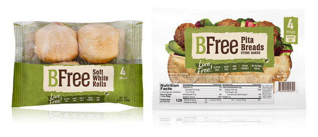 BFree Foods' Soft White Rolls and Stone Baked Pita Bread, available at Publix stores starting this month.