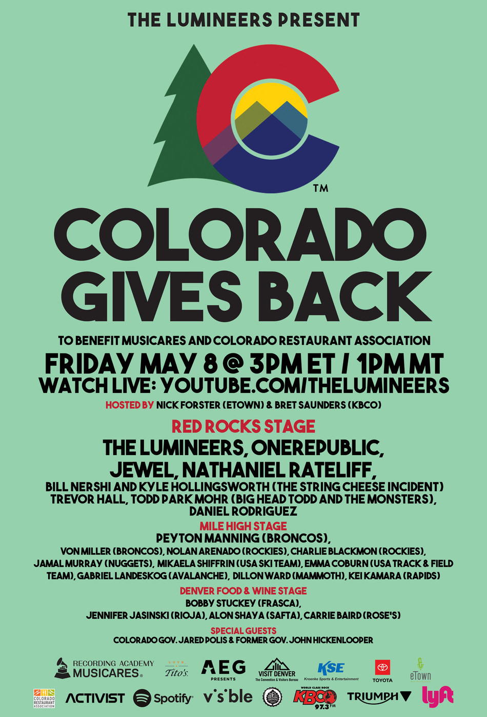On Friday, May 8, The Lumineers will present Colorado Gives Back, a virtual benefit concert which will take place from1:00–4:00pm MT on The Lumineers YouTube Channel. The live streaming event will include performances from top recording artists, special guest appearances and more. Donations will benefit individuals in the national music community as well as those in the Colorado restaurant services industry who have lost their income and revenue due to the COVID-19 pandemic.