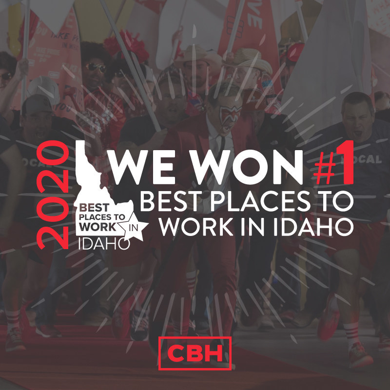 CBH Homes, Idaho's #1 Homebuilder, names #1 Best Place to Work in Idaho in the Large Employer category for 2020.