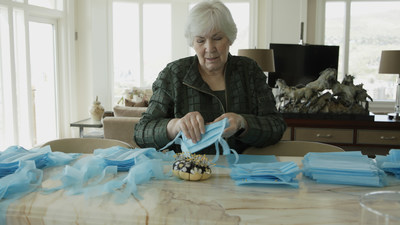 Gail Miller, Intermountain Healthcare Board Chair and Utah Jazz, sews medical grade masks for ProjectProtect