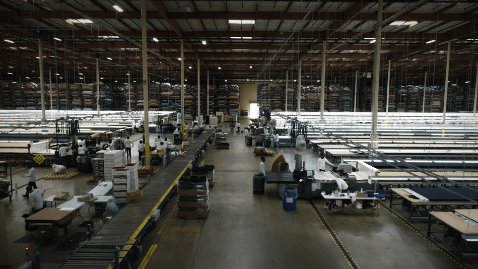Mask Production At BELLA+CANVAS Manufacturing Warehouse In Los Angeles
