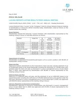 Lucara Reports Voting Results from Annual Meeting (CNW Group/Lucara Diamond Corp.)