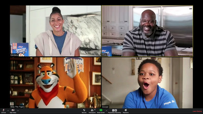 "The latest Mission Tiger recruits, superstars Shaquille O'Neal and Candace Parker team up with Tony the Tiger to ""crash"" a Philadelphia middle school's video team meeting to announce a game-changing surprise donation. Young Scholars Charter School student Donald Smalls is just one of the many kids that will be impacted by the donation that will build a safe, on-campus court for kids to play on when sports return."
