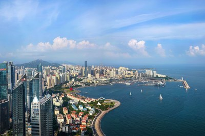 The eastern coastal city of Qingdao amid gentle breeze in May