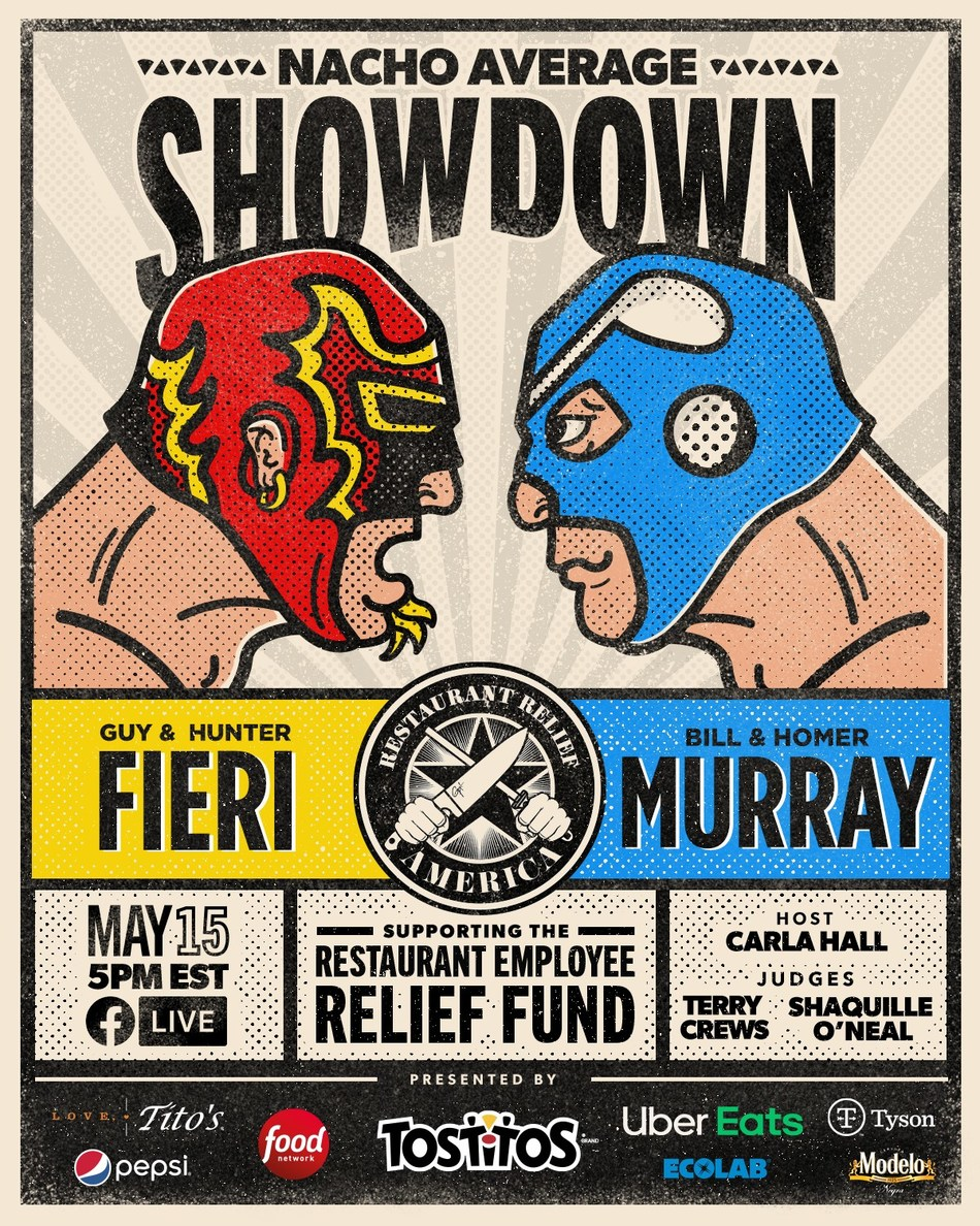 """Nacho-loving rivals Guy Fieri and Bill Murray are teaming up for a """"Nacho Average Showdown"""" virtual nacho-making competition to raise awareness and donations for the Restaurant Employee Relief Fund (RERF)."""