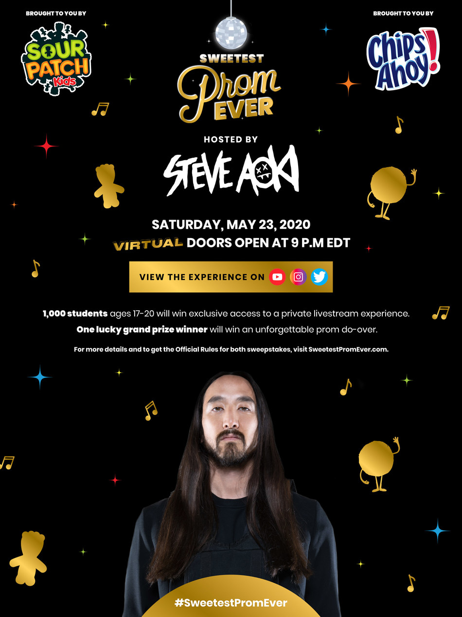 CHIPS AHOY! And SOUR PATCH KIDS Brands Invite High Schoolers To Sweetest Prom Ever, A Virtual Prom Party With Steve Aoki On May 23