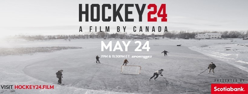 Scotiabank is bringing hockey back. Imagined, edited and produced by The Mark, Hockey 24 will air on Sportsnet and Sportsnet NOW at 7 p.m. and again at 11:30 p.m. EDT, on Sunday, May 24th. On May 25th the documentary will be available on the Hot Docs website for a special encore screening, and a French subtitled version of the documentary will air May 31st on TVA Sports. (CNW Group/Scotiabank)