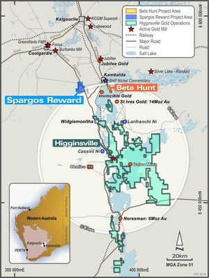 Figure 1: Location of Spargos Reward project in relation to the Beta Hunt mine and Higginsville Gold Operations, Western Australia. (CNW Group/RNC Minerals)