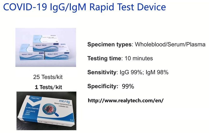 Materiais antiepidêmicos doados: dispositivos para testes rápidos da Hangzhou Realy (PRNewsfoto/Hangzhou Realy Tech Co. Ltd.)