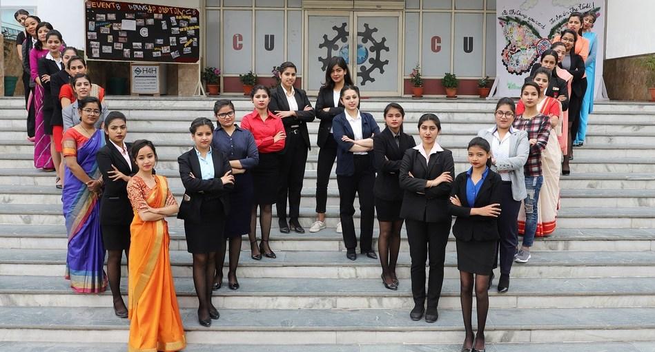 Chandigarh University students showcasing the spirit of being Women