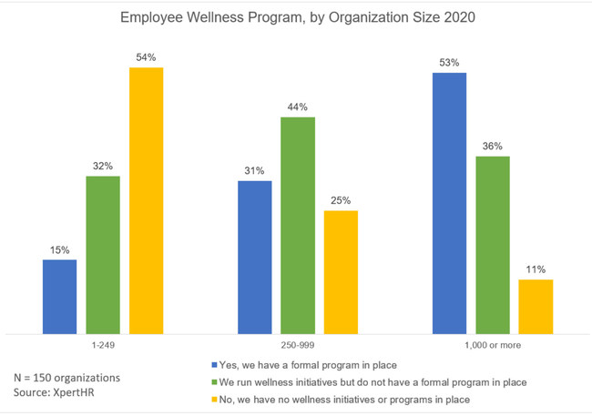 Fully 89% of organizations with 1,000 or more workers have either a formal wellness program or run wellness initiatives without a formal program, compared with 75% of employers with 250 to 999 workers, and 46% of organizations with a staff of fewer than 250.