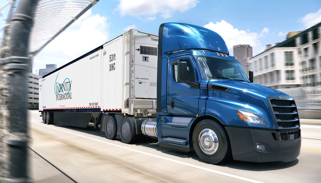Infinity Intermodal Container on Day Cab Truck Chassis