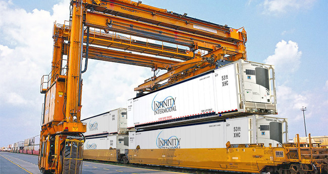 Infinity Intermodal Containers Doublestacked on Train