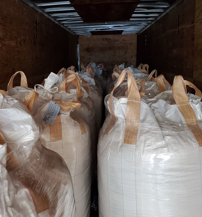 Truckload of flour donated by Cascade Organic Flour to 2nd Harvest