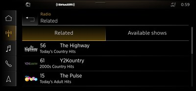 "SiriusXM with 360L on 2021 Model Year Audi Vehicles: The ""Related"" recommendations feature allows listeners to easily discover other channels and on demand shows/episodes related to the currently playing channel and content."