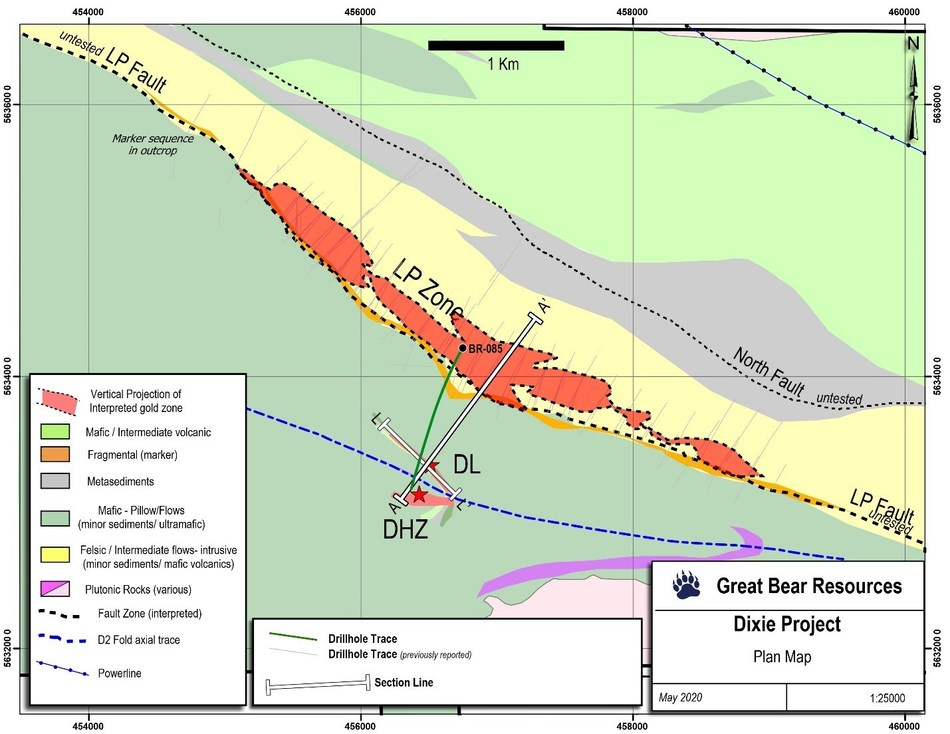 Figure 3: Map showing the locations of the cross section and long section in Figures 1 and 2. A to A' represents the cross section in Figure 1, while L to L' represents the long section in Figure 2. (CNW Group/Great Bear Resources Ltd.)
