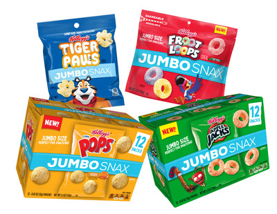 New Kellogg's® JUMBO SNAX features cereal classics, now jumbo size and packaged perfectly for snacking. The new product line includes Kellogg's Froot Loops®, Apple Jacks®, Corn Pops® and Kellogg's Frosted Flakes®-inspired Tiger Paws.