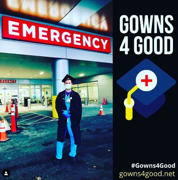 "Nathaniel ""Than"" Moore, above, coordinates the donation of graduation gowns to health care workers on the front lines of the COVID-19 pandemic, where the gowns may be used as alternative personal protective equipment. Moore is an emergency medicine physician assistant in the University of Vermont Medical Center."