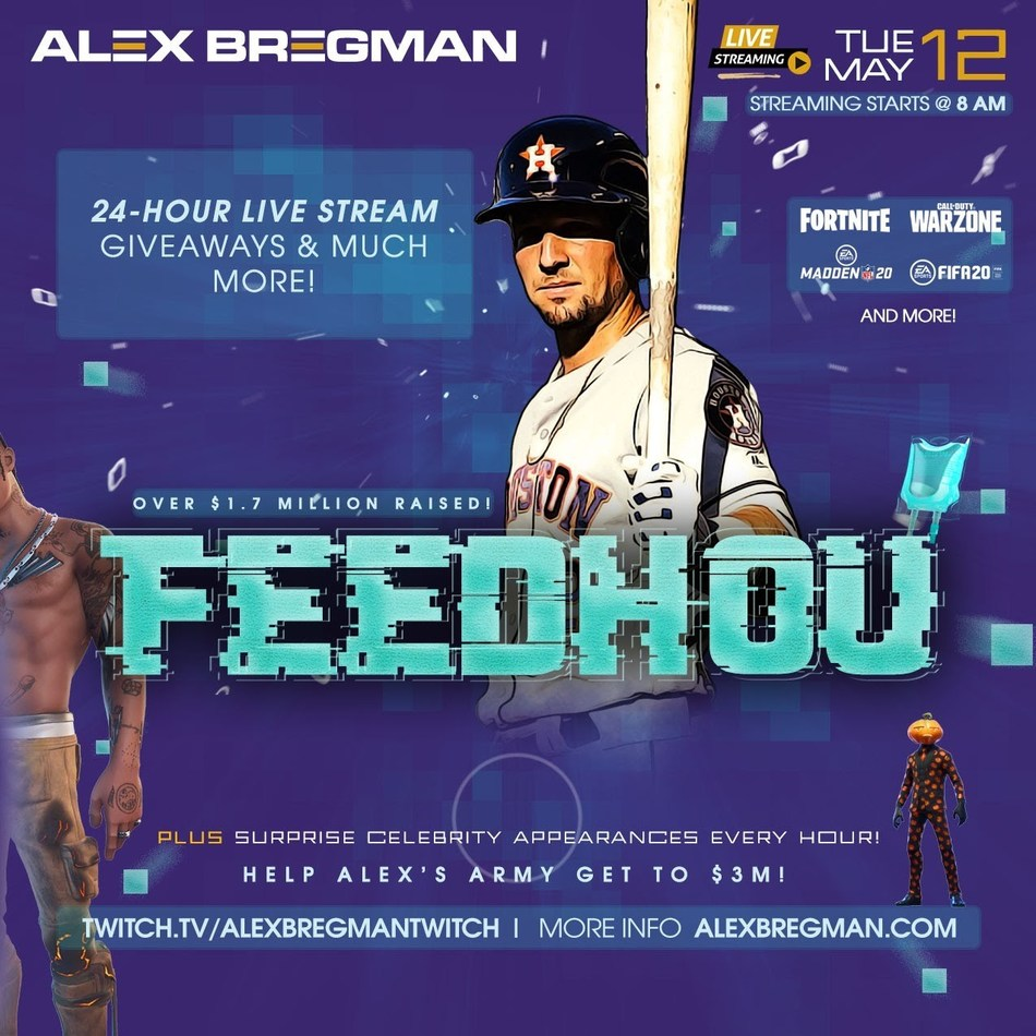 Houston Astros third baseman Alex Bregman is used to playing games, but this time will do so in an electronic and remote environment with the goal of adding to $1.8 million in donations that his FEEDHOU campaign already has brought to the Houston Food Bank during the COVID-19 pandemic. On Tuesday, May 12, the famed ballplayer will host a 24-hour charity live stream on Twitch – the popular online streaming platform – where he and other celebrity participants will battle it out in a virtual arena.