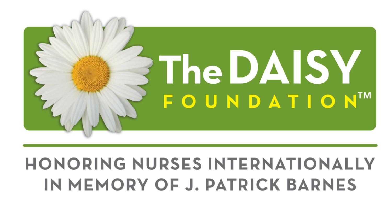 The Daisy Award logo with a daisy flower and text For Extraordinary Nursing Faculty - Honoring nurses internationally in memory of J. Patrick Barnes.