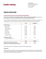 Lundin Mining Announces Annual Meeting Voting Results (CNW Group/Lundin Mining Corporation)
