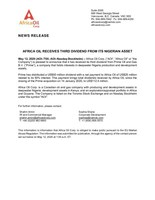 Africa Oil Receives Third Dividend from Its Nigerian Asset (CNW Group/Africa Oil Corp.)