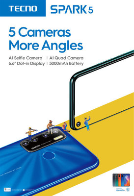 """""""تكنو موبايل"""" تطلق هاتفها الجديد Spark 5 المجهز بخمس كاميرات"""