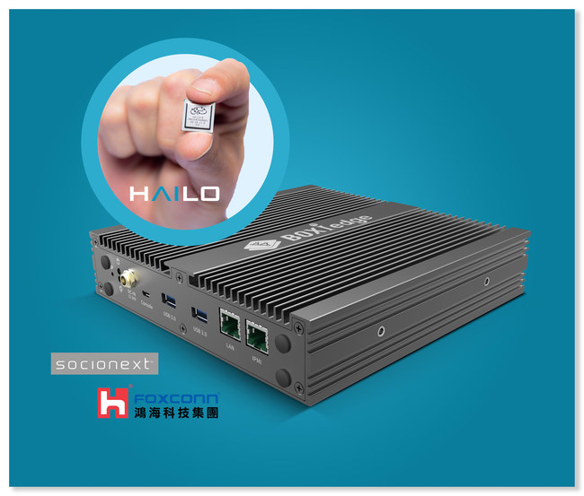 """The Hailo-8(TM) deep learning processor, combined with Foxconn's """"BOXiedge(TM)"""" and Socionext's """"SynQuacer(TM)"""" SC2A11, provides market-leading energy efficiency for standalone AI inference nodes. (PRNewsfoto/Socionext,Foxconn,Hailo)"""