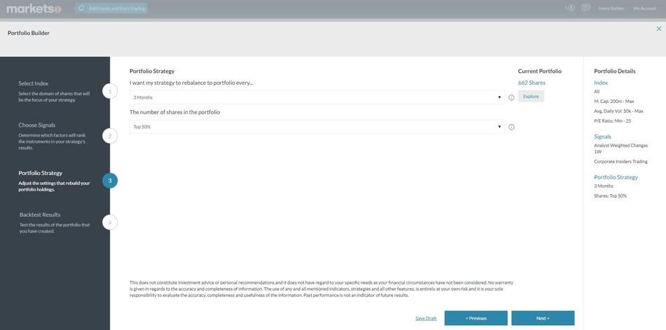 Step 3: Portfolio Strategy - adjust the settings that automatically rebalance your portfolio holdings