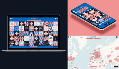 The infect.love website, showing the message wall and world map