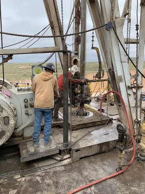 Rig workers on drilling platform in Meade County, Kansas on O'Brien Energy well location
