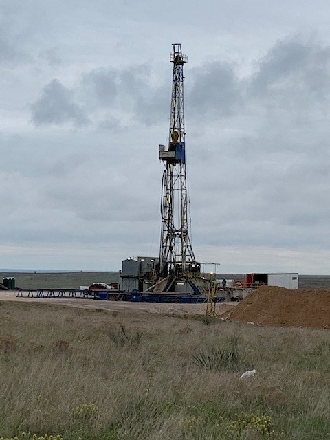 Duke Drilling rig on O'Brien Energy drilling location in Meade County, Kansas