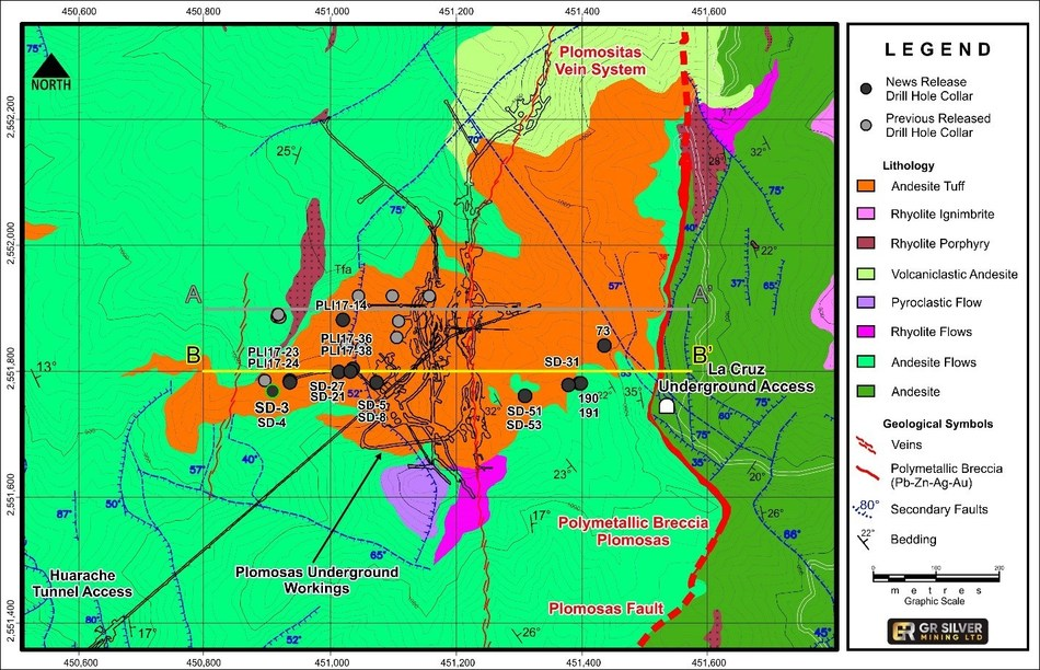 Figure 2:  Drill Hole Collar Locations– Mineralized Structures (Plomosas Mine Area) (CNW Group/GR Silver Mining Ltd.)
