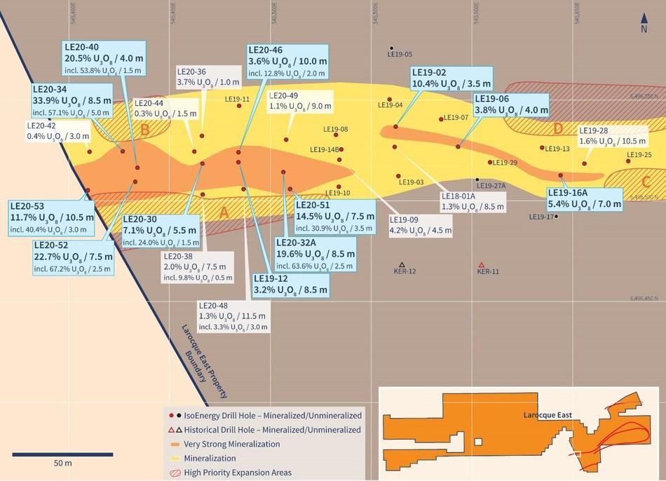 Figure 2 – Western Hurricane Zone Drill Hole Location Map (CNW Group/IsoEnergy Ltd.)