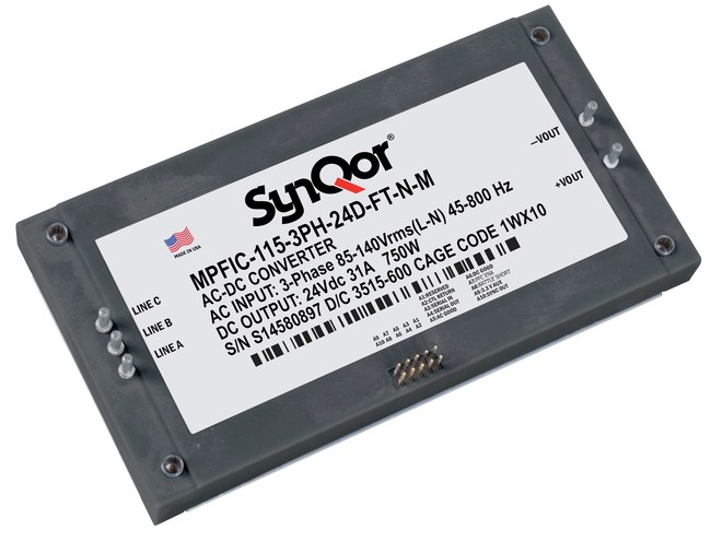 The MilCOTS 3-Phase MPFICQor Isolated Power Factor Correction module is a high power, high efficiency AC-DC converter. It operates from a 115 Vrms AC input and generates an isolated DC output. Regulated output and droop output modules are available. Used in conjunction with a hold-up capacitor, and SynQor's MCOTS AC line filter, the MPFICQor will draw a nearly perfect sinusoidal current (PF>0.99)