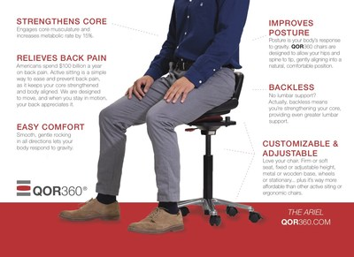 The QOR360 Ariel has a number of unique features that set it apart from ergonomic chairs. The sleek design earned QOR360 the A'Design Bronze Award in the Furniture category.