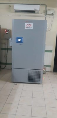 Deep Freezer donated by CGI for Plasma therapy at Gandhi Hospital, Hyderabad