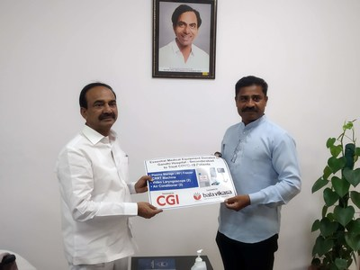 Etela Rajender (left), Health Minister of Telangana State receiving the supply of medical equipment from CGI for COVID-19 treatment at Gandhi Hospital. (Right) S.Shoury Reddy, Executive Director, Bala Vikasa Social Service Society.