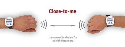 """Close-to-me"" is the device that monitors ""social distancing"", based on a variable distance that can be set according to directives and regulations. It is based on radio frequency technology and it creates a non-invasive, low frequency radio bubble around the person. A sound and vibration warns wearers when the set distance is not respected. (PRNewsfoto/Partitalia)"
