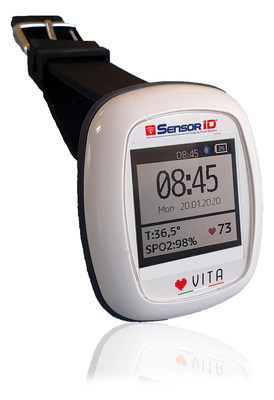 """Vita"" has been designed to constantly monitor vital parameters in patients that can be treated using telemedicine, in all the cases where it is deemed indispensable to identify a possible contagion. Its sensors meter heart beat, oxygen saturation - a fundamental parameter for Covid-19 -, skin temperature and electrocardiogram. (PRNewsfoto/Partitalia)"