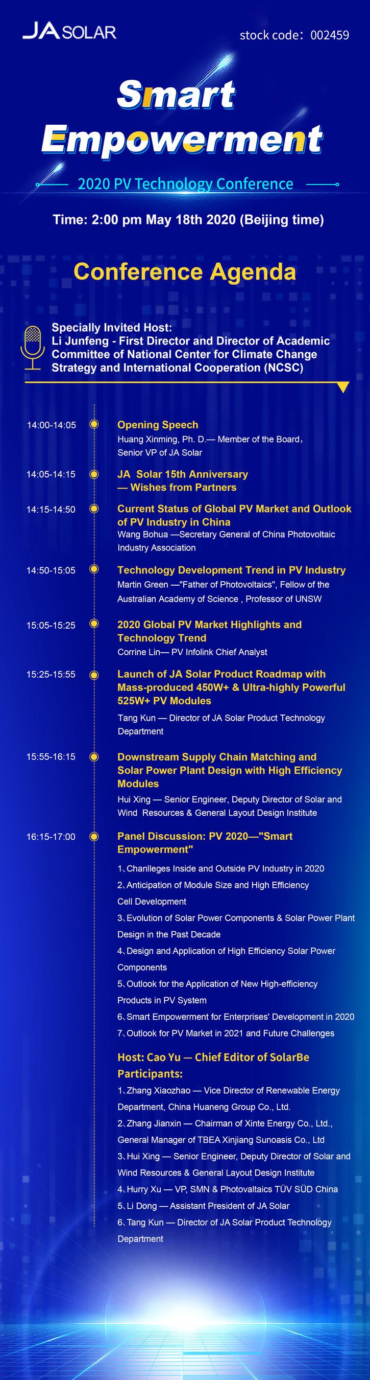 Pauta da conferência (PRNewsfoto/JA Solar Co., Ltd.)