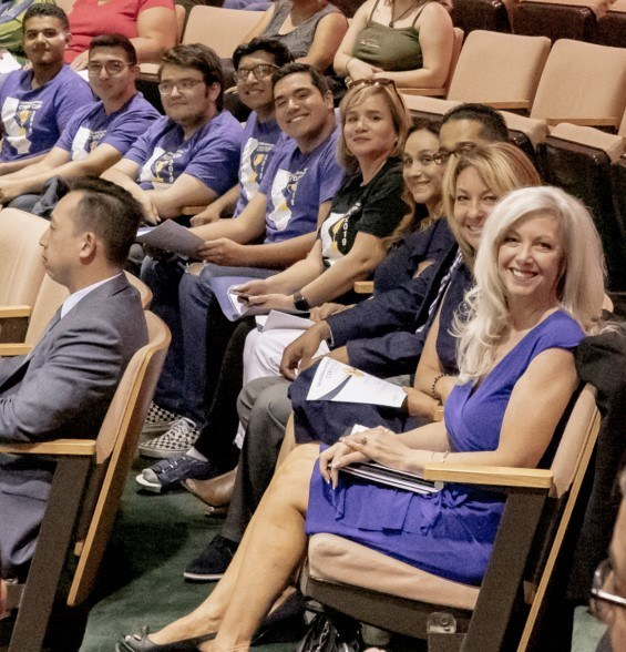 Donna Woods, Susanne Mata - Regional Director, ICT-DM Sector for the Inland Empire / Desert Region, Avi Nair, Nikki Cook - Moreno Valley College and the California Mayors Cyber Cup 2019 Inland Empire/Desert Champion team from Grand Terrace. Attending the city council meeting to present the mayor with the perpetual trophy.