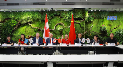 Representatives from BGI, the Embassy of Canada in China and Mammoth Foundation at the signing ceremony in Shenzhen.
